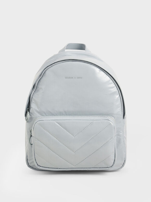 Quilted Double Zip Backpack, Light Blue, hi-res