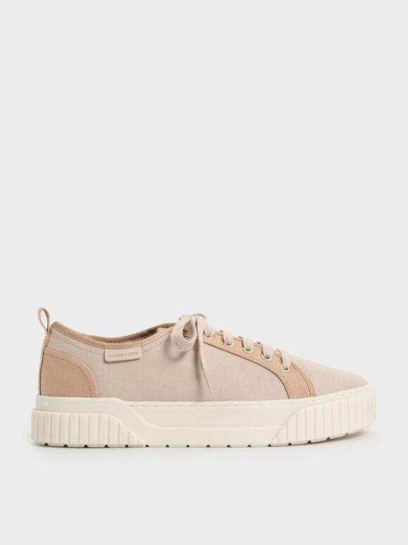 Sepatu Sneakers Recycled Cotton Low-Top, Sand, hi-res