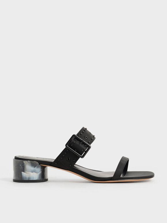 The Anniversary Series: Sandal Mules Sepphe Recycled Nylon Grommet, Black, hi-res