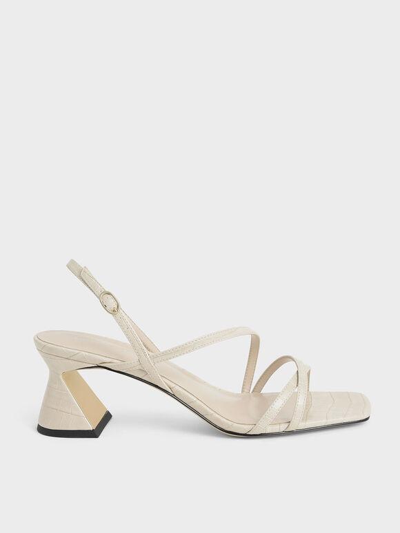 Sandal Croc-Effect Strappy Heeled, Animal Print White, hi-res