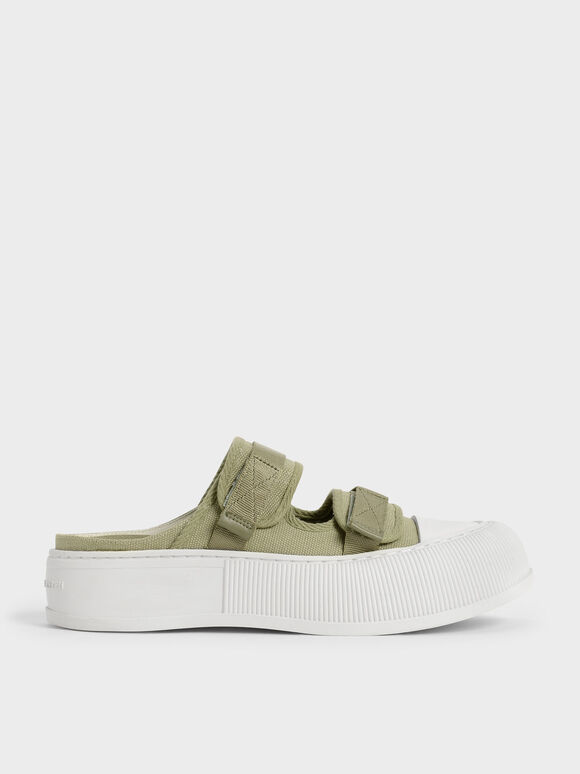 Sepatu Sneakers Mules Canvas Velcro, Green, hi-res