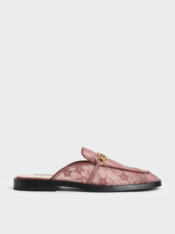 Sepatu Chain-Link Lace Loafer Mule, Mauve, hi-res