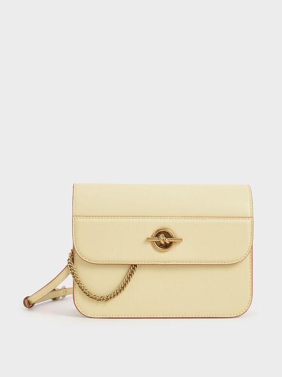 Metallic Accent Chain Handle Bag, Butter, hi-res