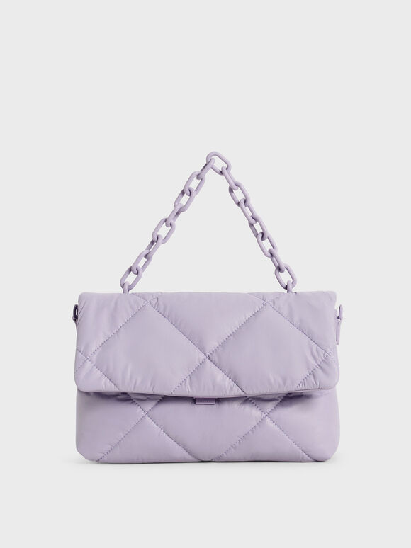 Chain Handle Puffer Bag, Lilac, hi-res
