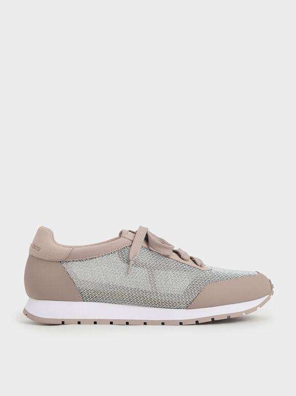 Sepatu Sneakers Mesh Low-Top, Pink, hi-res
