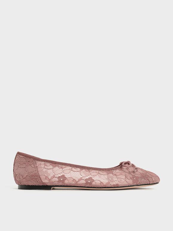 Bow-Tie Lace Ballerina Flats, Mauve, hi-res