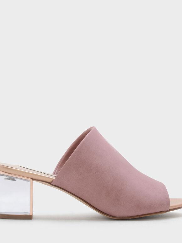 Lucite Heel Mules, Pink, hi-res