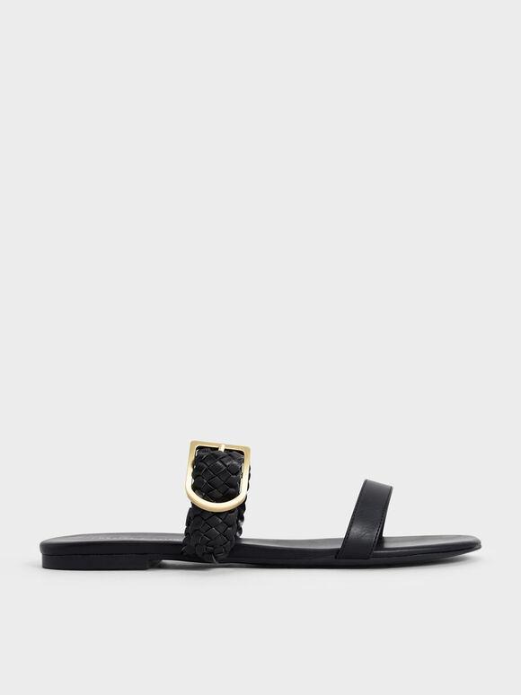Sandal Woven Strap Slide, Black, hi-res