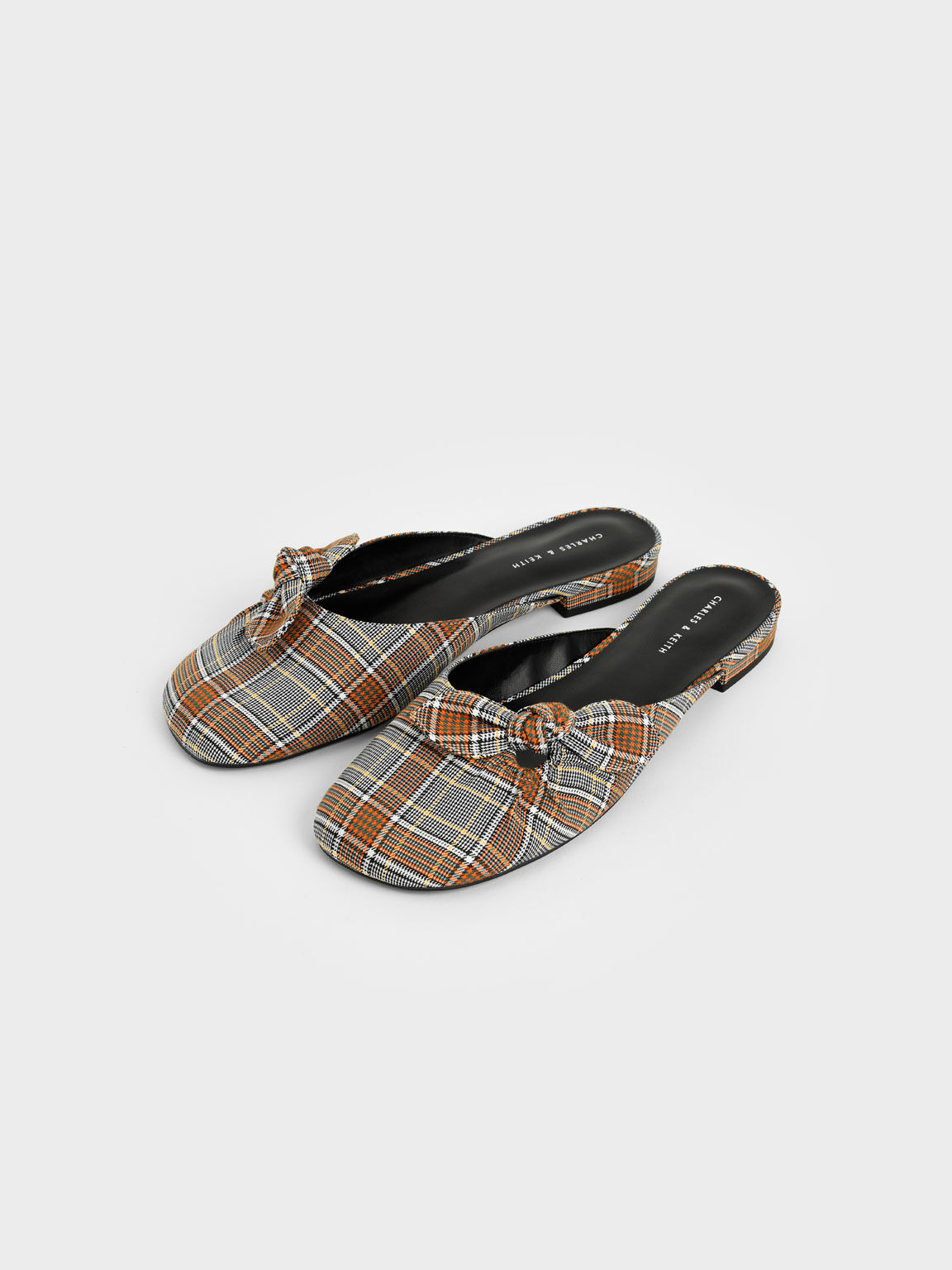 Sandal Check Print Knotted Fabric Mules, Grey, hi-res