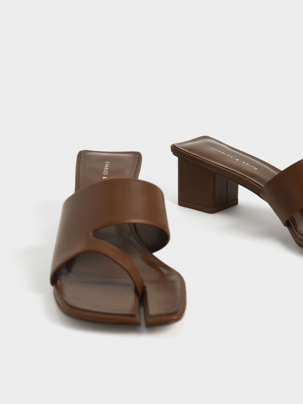 Cut-Out Thong Sandals, Brown, hi-res