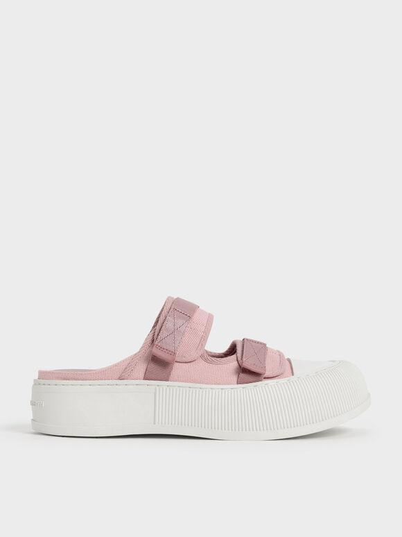 Sepatu Sneakers Mules Canvas Velcro, Pink, hi-res