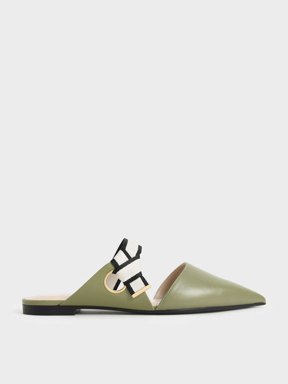Pointed Toe Fabric Strap Mules, Olive, hi-res
