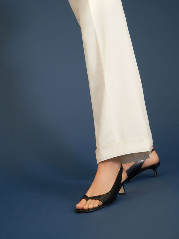 Sandal Thong Slingback, Black, hi-res
