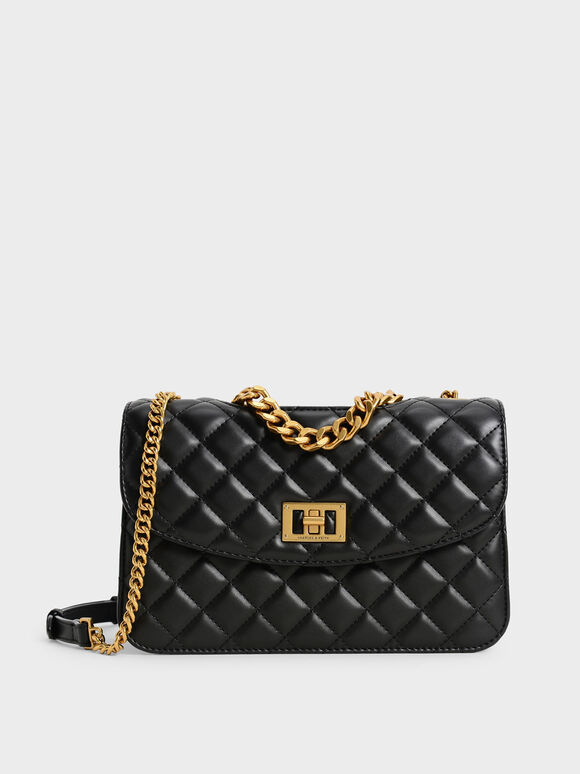 Quilted Clutch, Black, hi-res