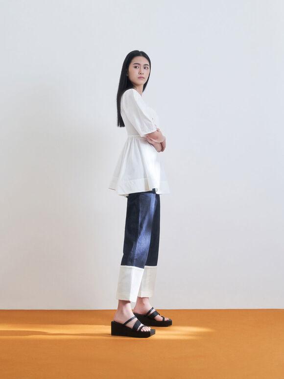 Sepatu Wedges Platform Asimetris, Black, hi-res
