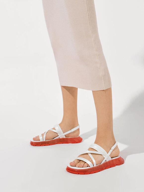 Sandal Flatform Bertali Grosgrain, White, hi-res