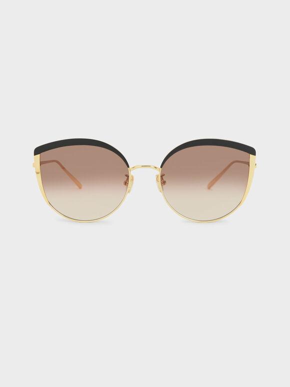 Kacamata Cat-Eye Thin Metal Frame, Black, hi-res