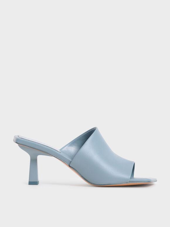 Asymmetric Square Toe Mules, Slate Blue, hi-res