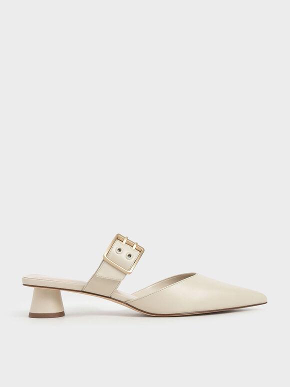 Sepatu Grommet Buckle Mules, Chalk, hi-res