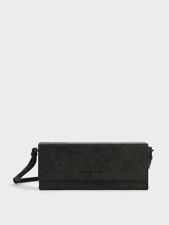 Tas Selempang Kotak Panjang, Black, hi-res