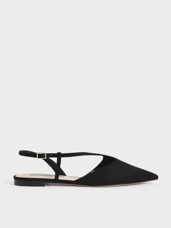 Sepatu Textured Pointed Toe Asymmetric Strap Ballerina Flats, Black Textured, hi-res