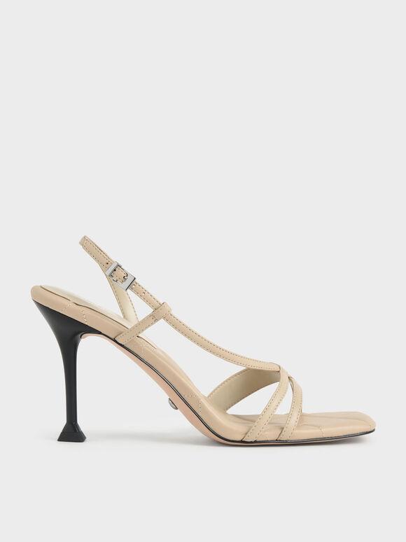 Sandal Leather Sculptural Heel, Chalk, hi-res
