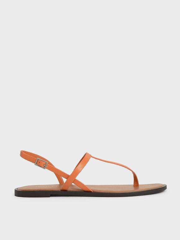 Sandal Slingback T-Bar, Orange, hi-res