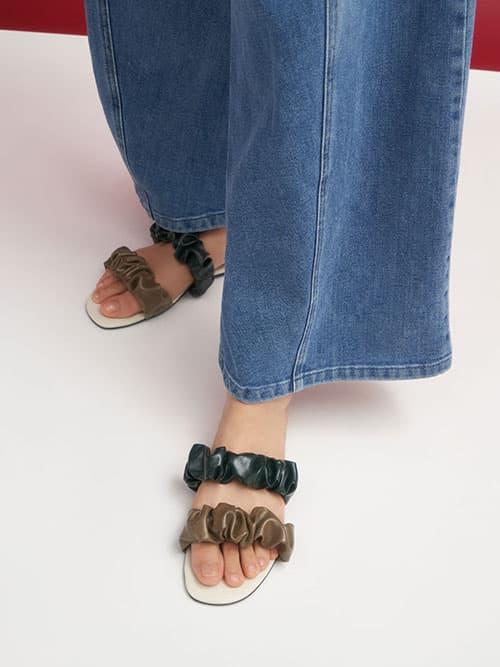 Sandal Ruched Strap Slide, Olive