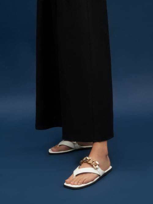 Sandal Chain Strap Thong, Putih