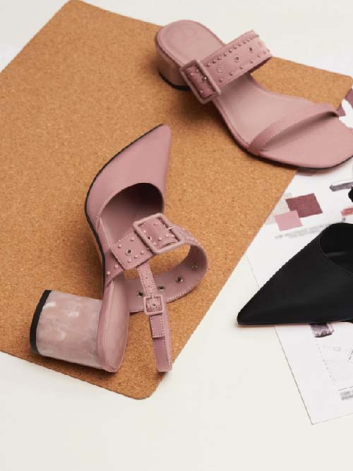The Anniversary Series: Sepphe Recycled Nylon Grommet Slingback Pumps, Pink