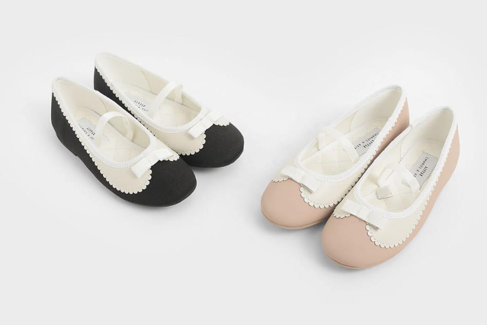 Girls' Scallop Trim Ballerina Flats, Pink & Black