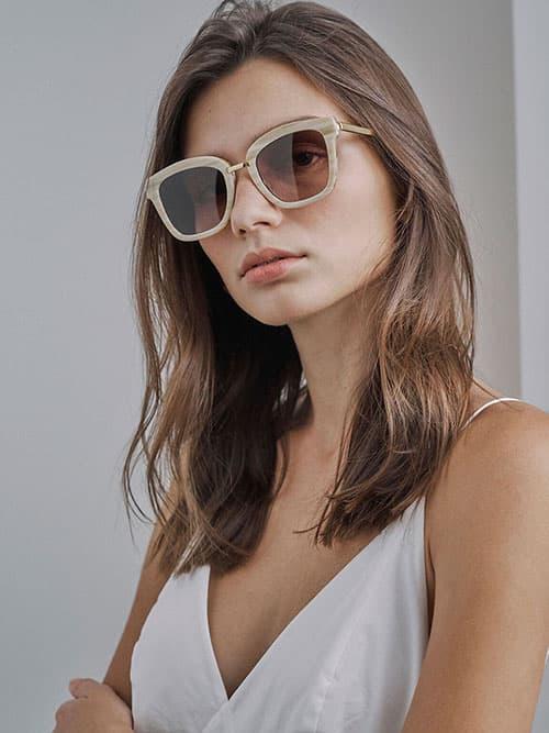 Kacamata Wayfarer Asetat, Krem
