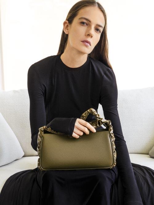 Riley Ruffle-Trim Bag, Olive