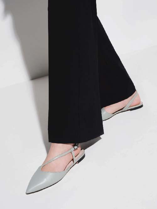 Sepatu Flats Pointed Toe          Asymmetric Strap Ballerina, Mint Green