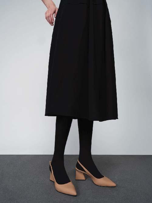Sepatu Pumps Leather Pointed Toe Slingback, Caramel